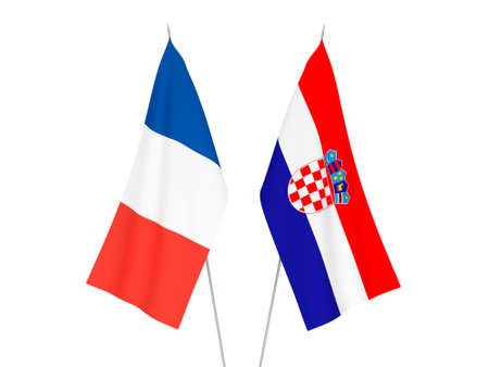 National fabric flags of France and Croatia isolated on white background. 3d rendering illustration.