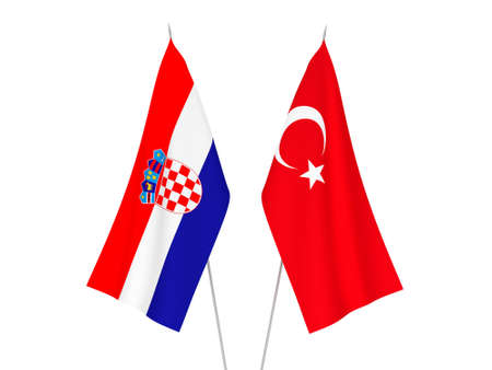 National fabric flags of Croatia and Turkey isolated on white background. 3d rendering illustration. Imagens
