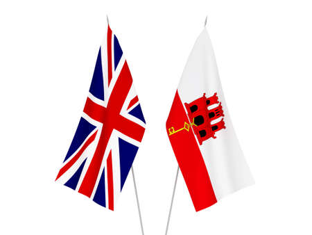 National fabric flags of Great Britain and Gibraltar isolated on white background. 3d rendering illustration. 스톡 콘텐츠