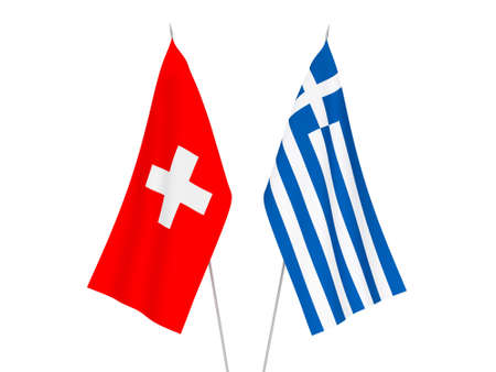 National fabric flags of Greece and Switzerland isolated on white background. 3d rendering illustration. Stok Fotoğraf - 131914640