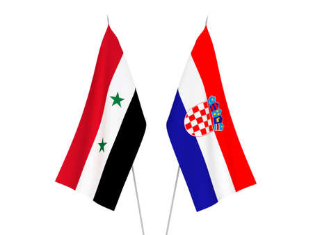 National fabric flags of Croatia and Syria isolated on white background. 3d rendering illustration.