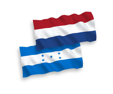National vector fabric wave flags of Honduras and Netherlands isolated on white background. 1 to 2 proportion.