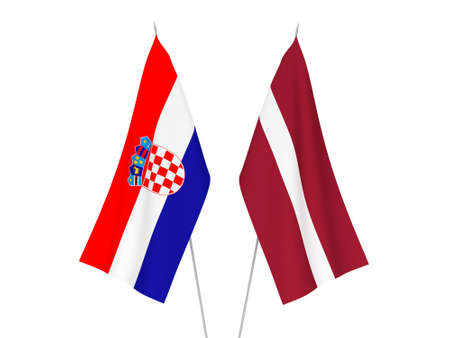 National fabric flags of Latvia and Croatia isolated on white background. 3d rendering illustration.