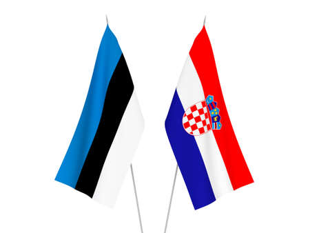 National fabric flags of Croatia and Estonia isolated on white background. 3d rendering illustration.