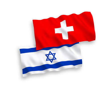 National vector fabric wave flags of Switzerland and Israel isolated on white background. 1 to 2 proportion.