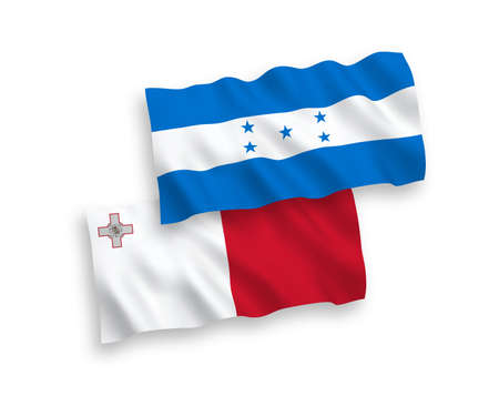 National vector fabric wave flags of Malta and Honduras isolated on white background. 1 to 2 proportion.