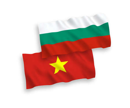 National vector fabric wave flags of Bulgaria and Vietnam isolated on white background. 1 to 2 proportion.