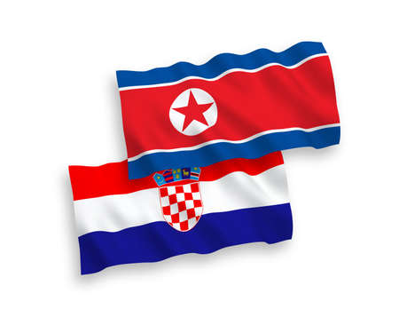 National vector fabric wave flags of North Korea and Croatia isolated on white background. 1 to 2 proportion. Illustration