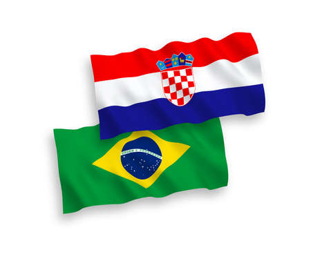 National vector fabric wave flags of Brazil and Croatia isolated on white background. 1 to 2 proportion.