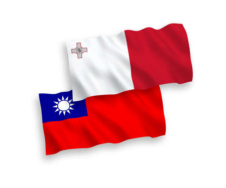 National vector fabric wave flags of Malta and Taiwan isolated on white background. 1 to 2 proportion.