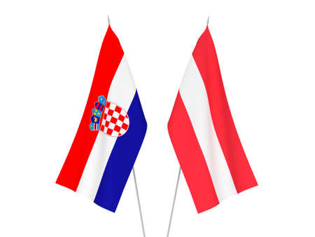 National fabric flags of Austria and Croatia isolated on white background. 3d rendering illustration.
