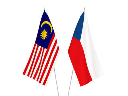National fabric flags of Czech Republic and Malaysia isolated on white background. 3d rendering illustration.