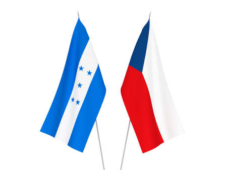National fabric flags of Honduras and Czech Republic isolated on white background. 3d rendering illustration.