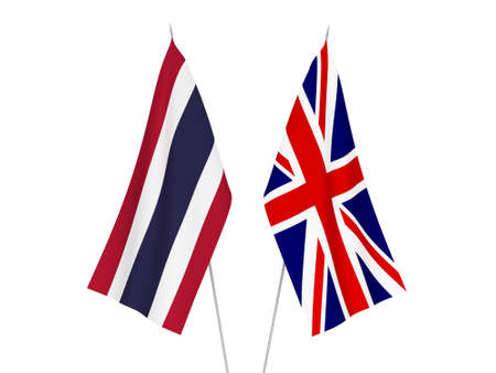 National fabric flags of Great Britain and Thailand isolated on white background. 3d rendering illustration. 스톡 콘텐츠