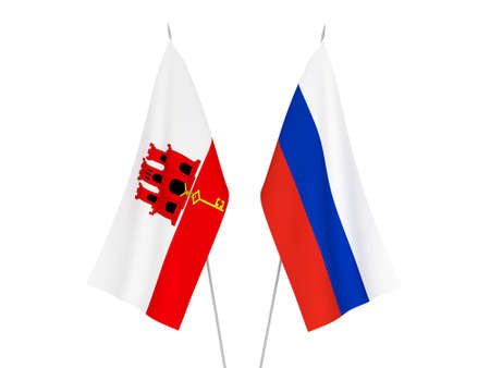 National fabric flags of Russia and Gibraltar isolated on white background. 3d rendering illustration.