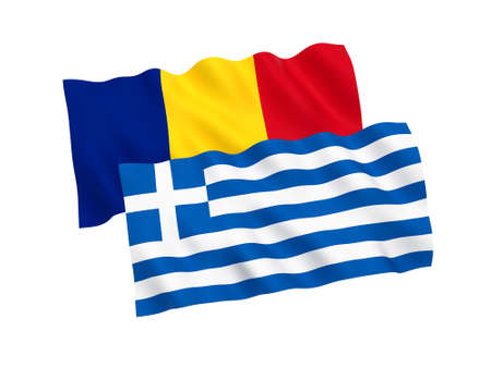 National fabric flags of Greece and Romania isolated on white background. 3d rendering illustration. Proportion 1:2