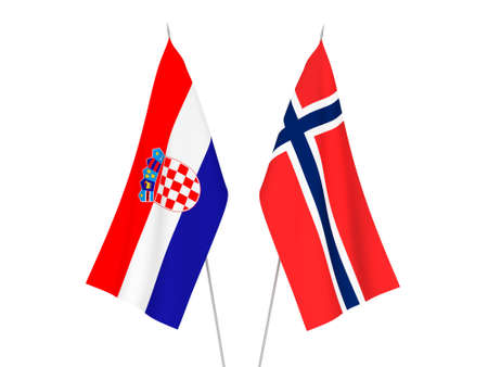 National fabric flags of Norway and Croatia isolated on white background. 3d rendering illustration.