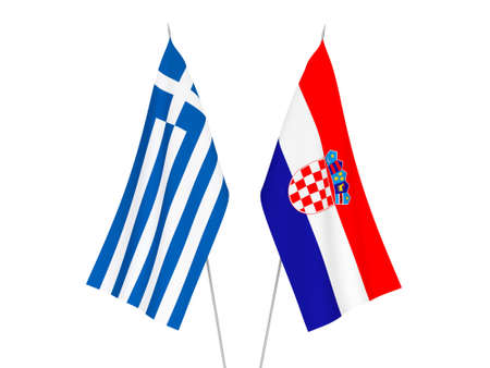 National fabric flags of Greece and Croatia isolated on white background. 3d rendering illustration.