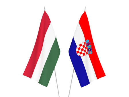 National fabric flags of Croatia and Hungary isolated on white background. 3d rendering illustration. Imagens