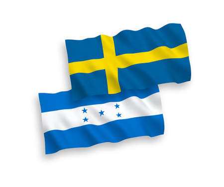 National vector fabric wave flags of Sweden and Honduras isolated on white background. 1 to 2 proportion.