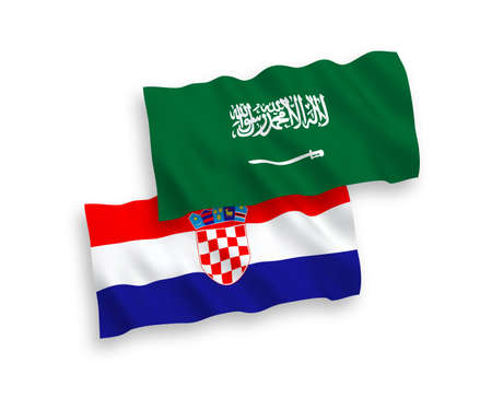 National vector fabric wave flags of Saudi Arabia and Croatia isolated on white background. 1 to 2 proportion.