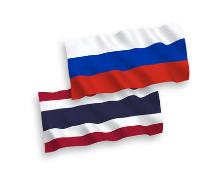 National vector fabric wave flags of Thailand and Russia isolated on white background. 1 to 2 proportion. Illustration