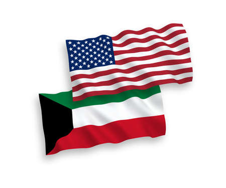 National vector fabric wave flags of Kuwait and USA isolated on white background. 1 to 2 proportion.