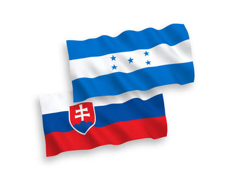 National vector fabric wave flags of Slovakia and Honduras isolated on white background. 1 to 2 proportion.