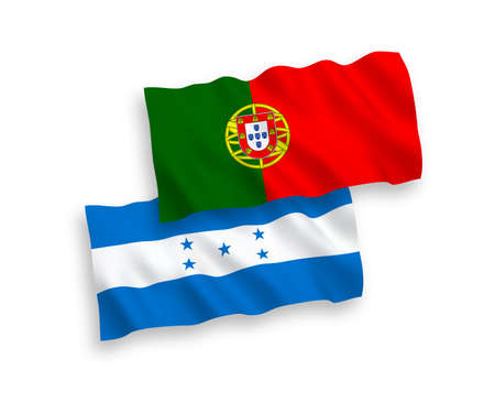 National vector fabric wave flags of Portugal and Honduras isolated on white background. 1 to 2 proportion. Illustration