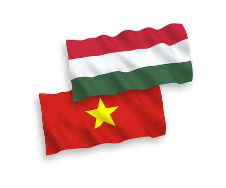 National vector fabric wave flags of Vietnam and Hungary isolated on white background. 1 to 2 proportion.