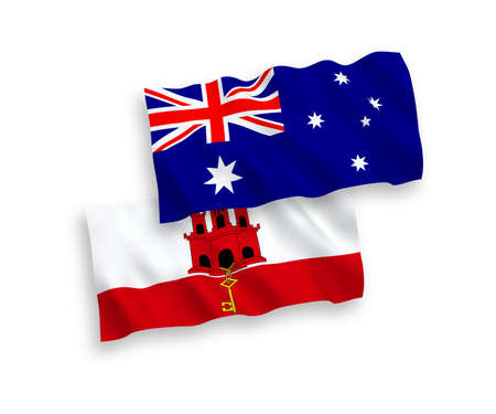 National vector fabric wave flags of Australia and Gibraltar isolated on white background. 1 to 2 proportion. Illustration