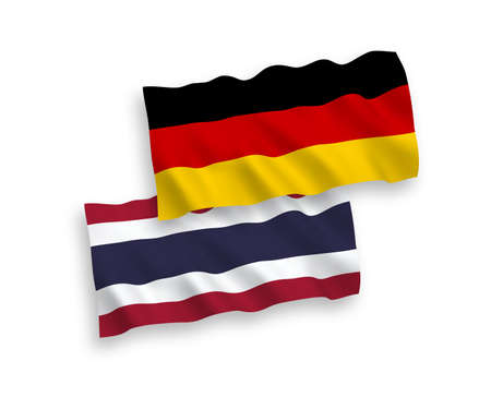 National vector fabric wave flags of Germany and Thailand isolated on white background. 1 to 2 proportion.