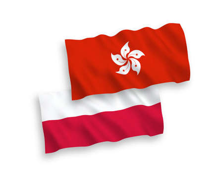 National vector fabric wave flags of Hong Kong and Poland isolated on white background. 1 to 2 proportion. Иллюстрация