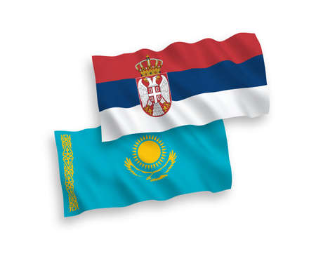 National vector fabric wave flags of Kazakhstan and Serbia isolated on white background. 1 to 2 proportion.