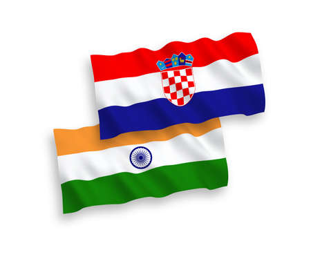 National vector fabric wave flags of India and Croatia isolated on white background. 1 to 2 proportion. Ilustração