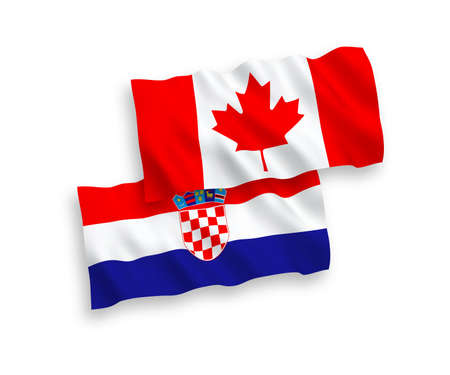 National vector fabric wave flags of Canada and Croatia isolated on white background. 1 to 2 proportion.