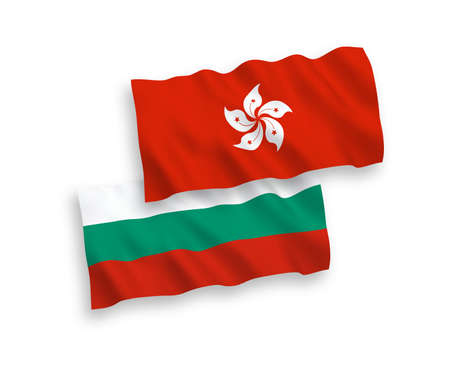 National vector fabric wave flags of Bulgaria and Hong Kong isolated on white background. 1 to 2 proportion.