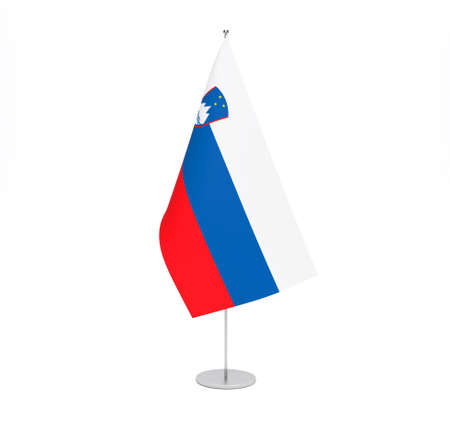 National fabric flag of Slovenia isolated on white background. 3d rendering illustration.