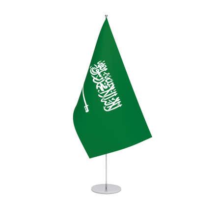 National fabric flag of Saudi Arabia isolated on white background. 3d rendering illustration.
