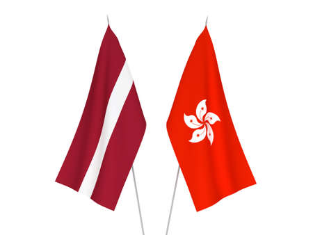 National fabric flags of Latvia and Hong Kong isolated on white background. 3d rendering illustration. Фото со стока