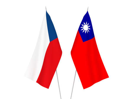 National fabric flags of Taiwan and Czech Republic isolated on white background. 3d rendering illustration.