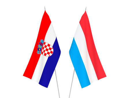 National fabric flags of Croatia and Luxembourg isolated on white background. 3d rendering illustration.
