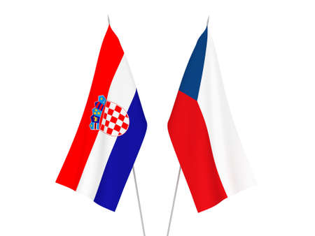 National fabric flags of Czech Republic and Croatia isolated on white background. 3d rendering illustration.