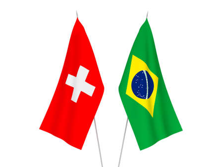 National fabric flags of Brazil and Switzerland isolated on white background. 3d rendering illustration.