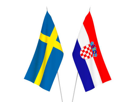 National fabric flags of Croatia and Sweden isolated on white background. 3d rendering illustration.