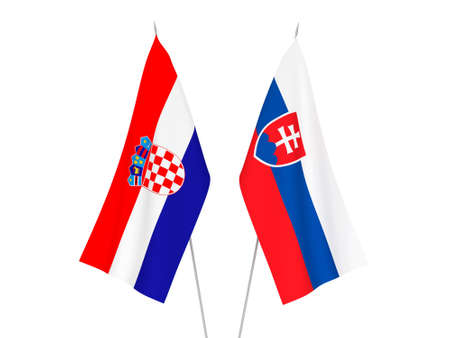 National fabric flags of Slovakia and Croatia isolated on white background. 3d rendering illustration.