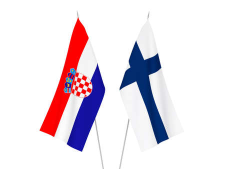 National fabric flags of Finland and Croatia isolated on white background. 3d rendering illustration.