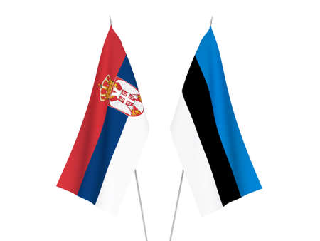National fabric flags of Serbia and Estonia isolated on white background. 3d rendering illustration.