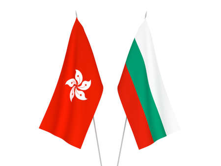 National fabric flags of Bulgaria and Hong Kong isolated on white background. 3d rendering illustration.
