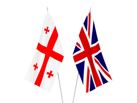 National fabric flags of Great Britain and Georgia isolated on white background. 3d rendering illustration. 스톡 콘텐츠